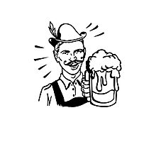 Retro Guy with Beer Photographic Print