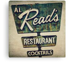 Al Read's Restaurant Vintage Sign Canvas Print