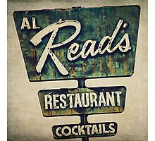 Al Read's Restaurant Vintage Sign Photographic Print
