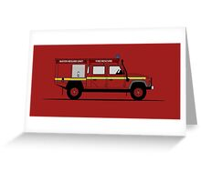 Land Rover Defender 130 Double Cab High Capacity Pick Up Fire Engine Greeting Card