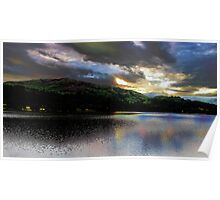 Sunset & clouds over Grasmere Poster