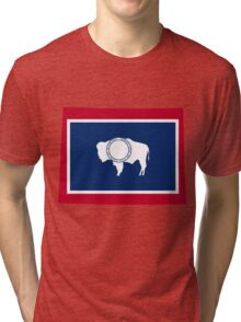 Wyoming | Flag State | SteezeFactory.com Tri-blend T-Shirt