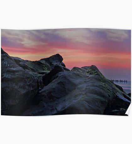 Happisburgh sea defences at sunset Poster