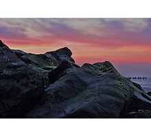 Happisburgh sea defences at sunset Photographic Print