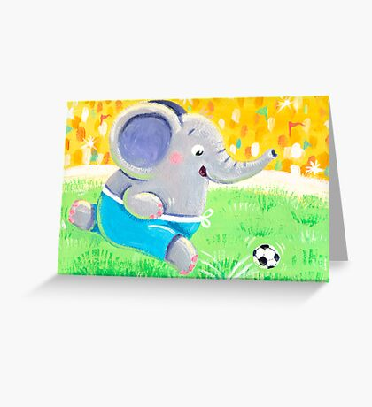 Football Player - Rondy the Elephant playing soccer Greeting Card