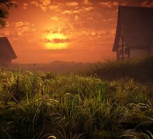 Village Houses Sunset by Kerem Gogus