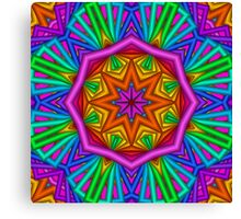 Colourful Kaleidoscope Star, fractal artwork Canvas Print
