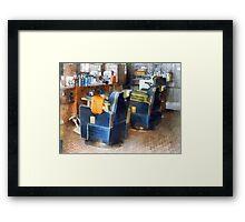 Barber Chair With Orange Barber Cape Framed Print