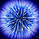 An Abstract of a Chiluly Glass Art Piece - Blue Star Burst by Swede