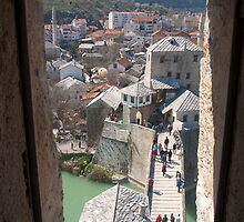 Mostar. The bridge from the tower window by MigBardsley