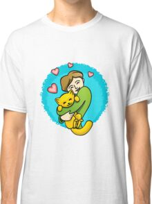 Girl and a cat Classic T-Shirt