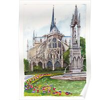 Notre Dame Paris in Spring Poster