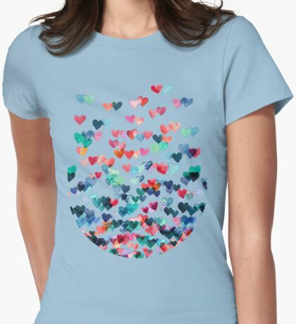 Heart Connections - Watercolor Painting Womens Fitted T-Shirt