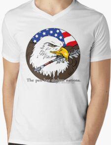 The pen has shaken nations. Mens V-Neck T-Shirt