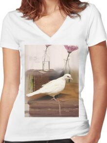 Little White Dove 5 - what good shall I do this day? Women's Fitted V-Neck T-Shirt