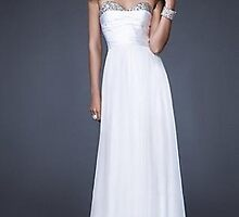 Strapless White Dress by La Femme 16139,Sexy Evening Dresses    by jackculun
