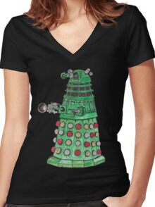 Christmas Dalek Women's Fitted V-Neck T-Shirt