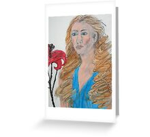 Lady With Red Flower Greeting Card