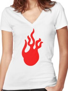 Flames Women's Fitted V-Neck T-Shirt