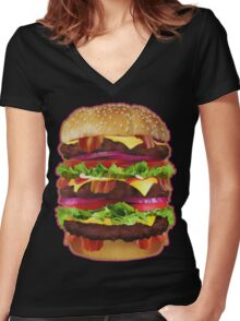 Triple Bacon Cheeseburger Women's Fitted V-Neck T-Shirt