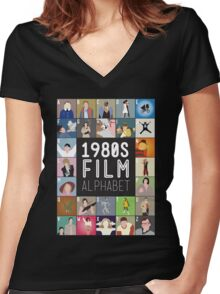 1980s Film Alphabet Tee Women's Fitted V-Neck T-Shirt