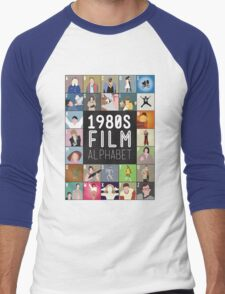 1980s Film Alphabet Tee Men's Baseball ¾ T-Shirt