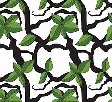 Leaves and twigs pattern in bold, green monotone by CClaesonDesign