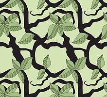 Leaves and twigs pattern in green tones by CClaesonDesign