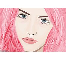 Pink Haired Woman with Big Blue Eyes Photographic Print