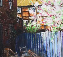 The Blue Paling - Backyard Of The ArtHouse Buetzow by Barbara Pommerenke