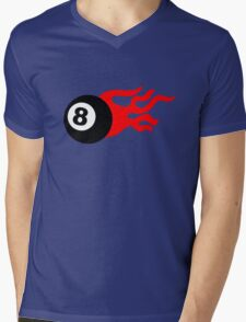 Eight Ball and Flames Mens V-Neck T-Shirt