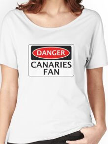 DANGER NORWICH CITY, CANARIES FAN, FOOTBALL FUNNY FAKE SAFETY SIGN Women's Relaxed Fit T-Shirt