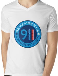 Remember 911 - World trade centre with American Flag Mens V-Neck T-Shirt