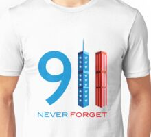 911 Never Forget - World Trade Centre with American Flag Unisex T-Shirt