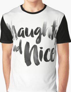 Naughty and Nice watercolor christmas text Graphic T-Shirt