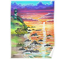 rocky beach sunrise Poster