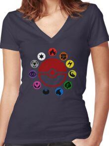 Pokemon TCG Types Women's Fitted V-Neck T-Shirt