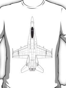 McDonnell Douglas F-18 Hornet Blueprint T-Shirt