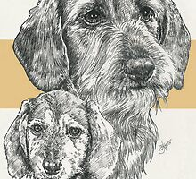Dachshund, wire-haired, Father & Son by BarbBarcikKeith