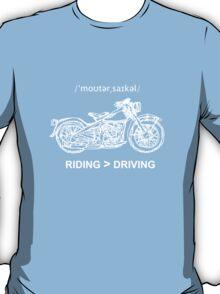 Motorcycle Cruiser Style Illustration White Ink T-Shirt