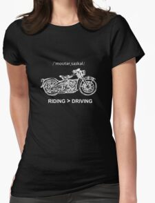 Motorcycle Cruiser Style Illustration White Ink Womens Fitted T-Shirt