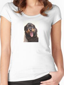 Cute Rottweiler Puppy With Tongue Out Women's Fitted Scoop T-Shirt
