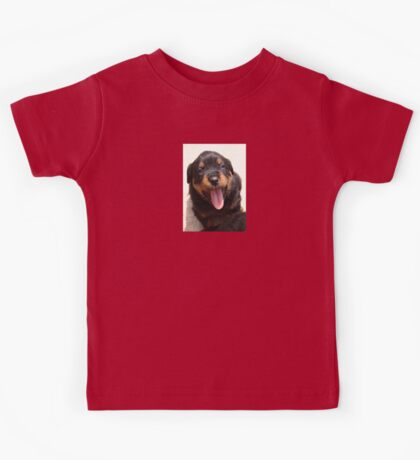Cute Rottweiler Puppy With Tongue Out Kids Tee