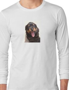 Cute Rottweiler Puppy With Tongue Out Long Sleeve T-Shirt