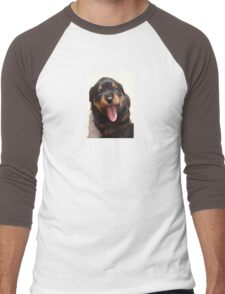 Cute Rottweiler Puppy With Tongue Out Men's Baseball ¾ T-Shirt