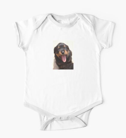 Cute Rottweiler Puppy With Tongue Out One Piece - Short Sleeve