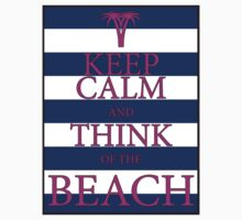 KEEP CALM AND THINK OF THE BEACH - PALM - Navy/Pink by IntWanderer
