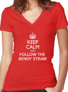 Keep Calm and Follow The Bendy Straw Women's Fitted V-Neck T-Shirt