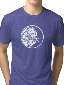 Bull Emblem In White Tri-blend T-Shirt