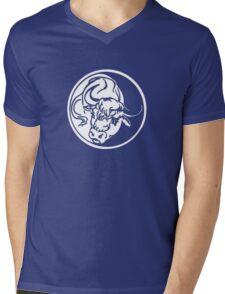 Bull Emblem In White Mens V-Neck T-Shirt